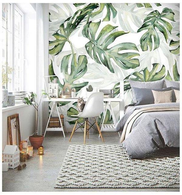 Papel de parede com decoração folhagem