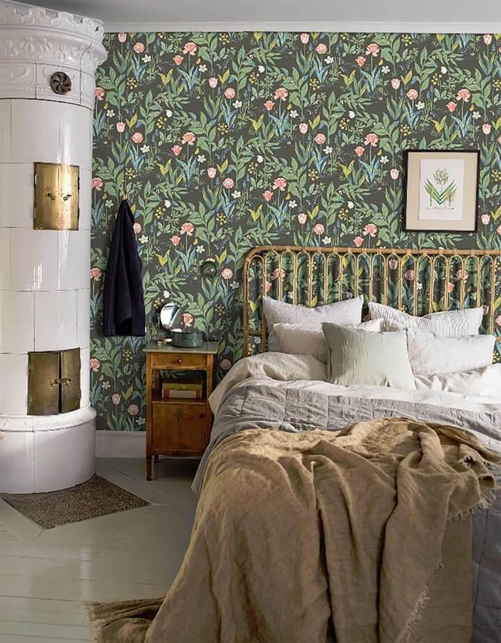 Papel de parede para quarto floral