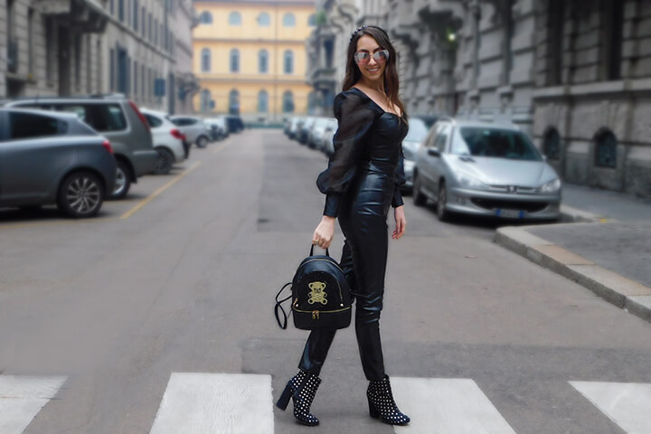 Black leather outfit