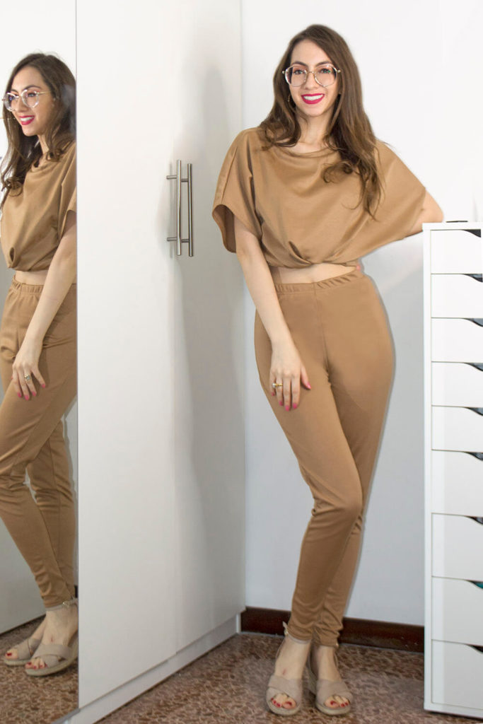 Nude loungewear set by Femme Luxe