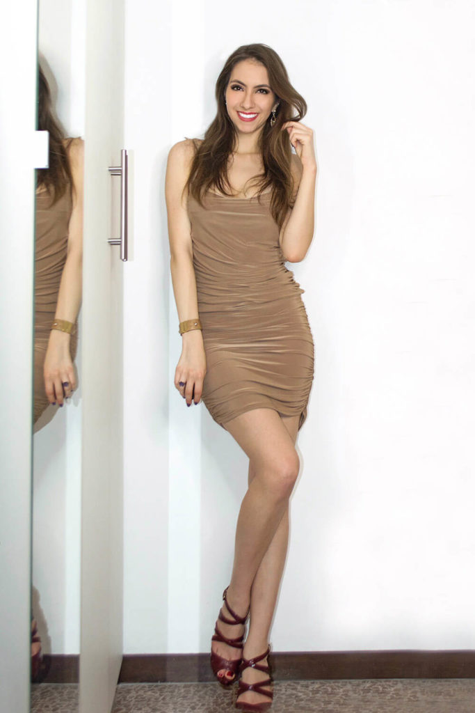 nude mini ruched dress