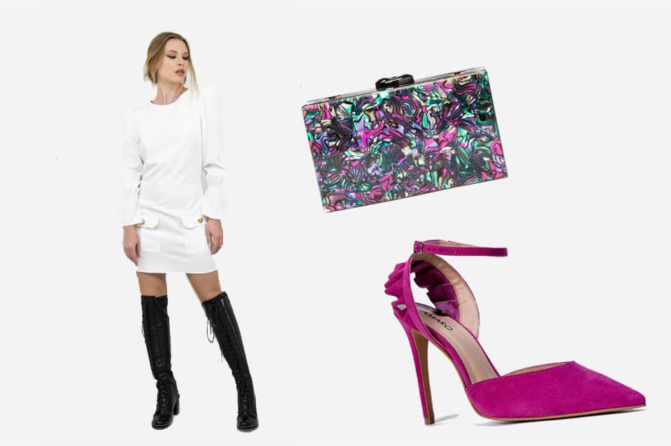 Como usar vestido branco com sapato colorido