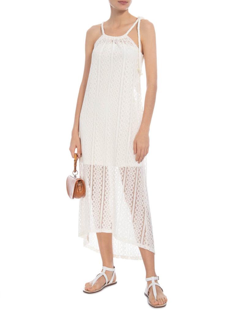 Vestido branco midi de renda