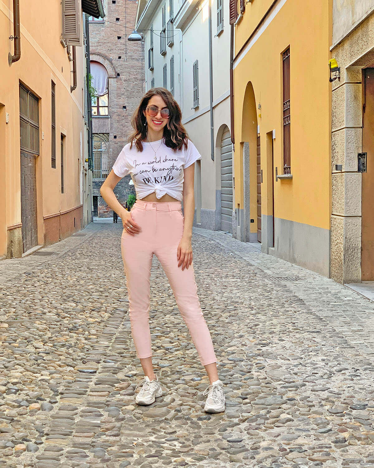 Pink trousers outfit and white T-shirt