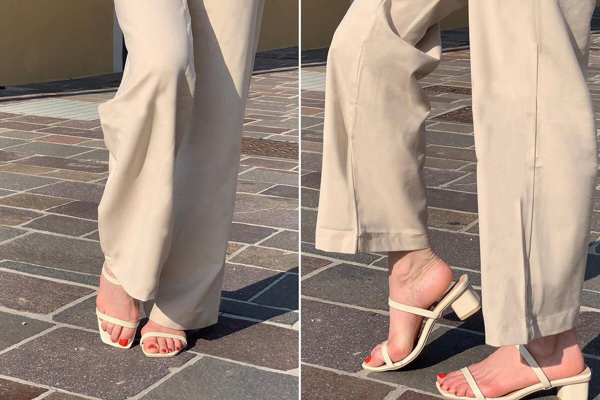 Square Toe Strap Slide Heels