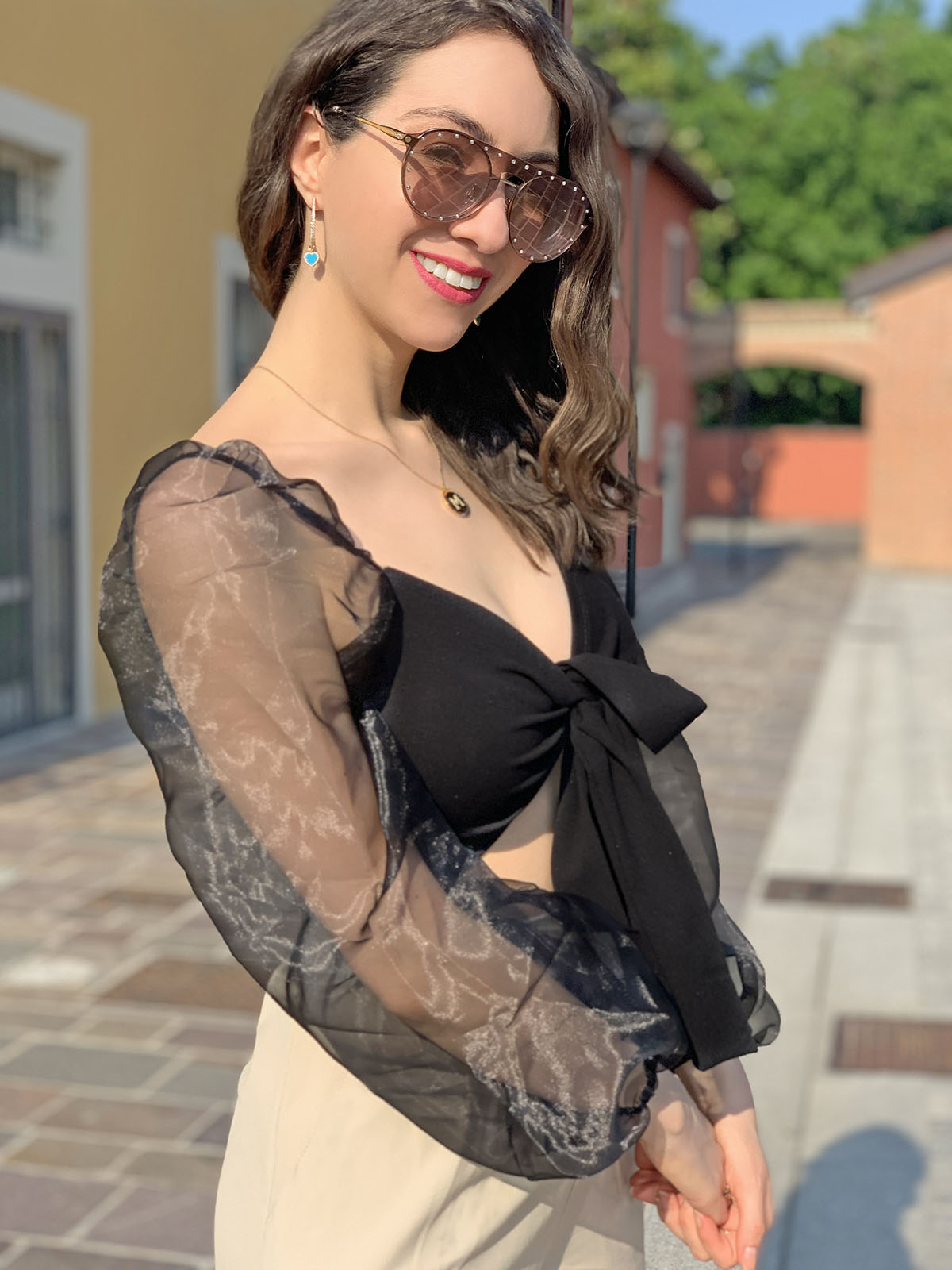 Black tie front crop top - Femme Luxe Finery