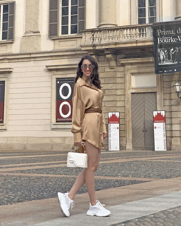 Golden shirt dress outfit - Femme Luxe Finery
