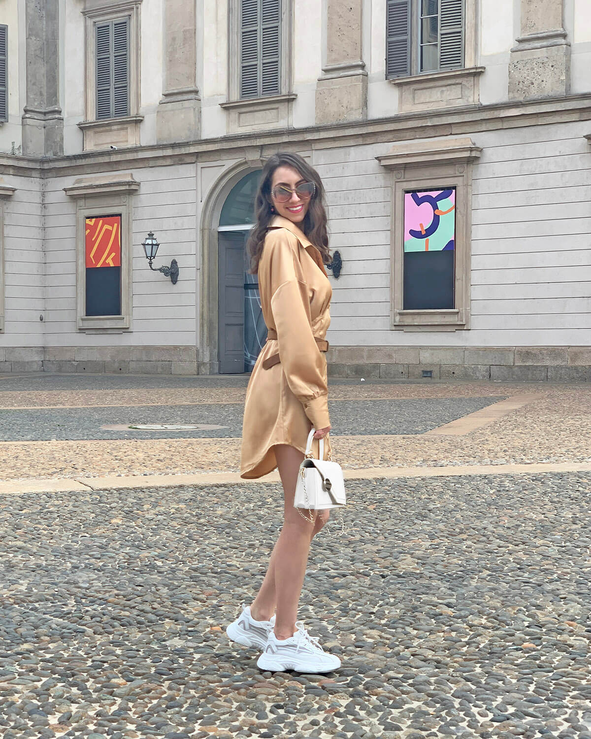 Shirt dress with chunky sneakers